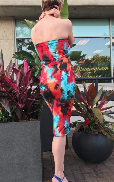Bright Red With Turquoise Multi Colored Print Reversible Tube Dress - Bailemos Dancewear