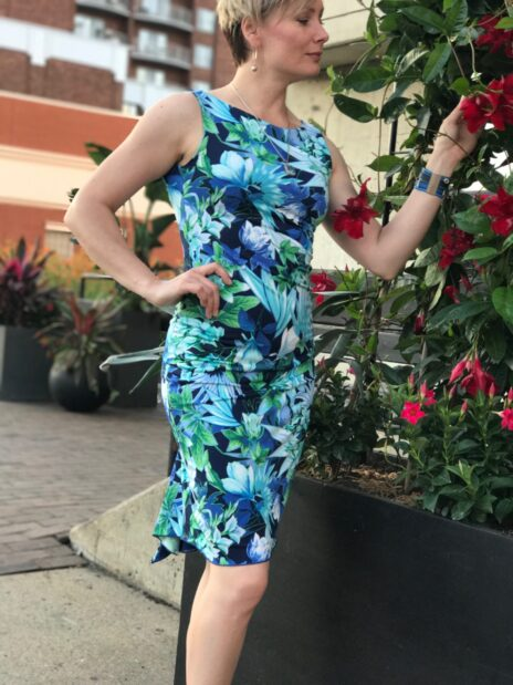 Teal Floral Print Reversible Dress - Bailemos Dancewear