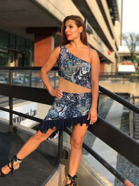 Blue Print Illusion Perfomance Dress - Bailemos Dancewear