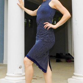 Navy blue with white dots Argentine tango dress - Bailemos Dancewear