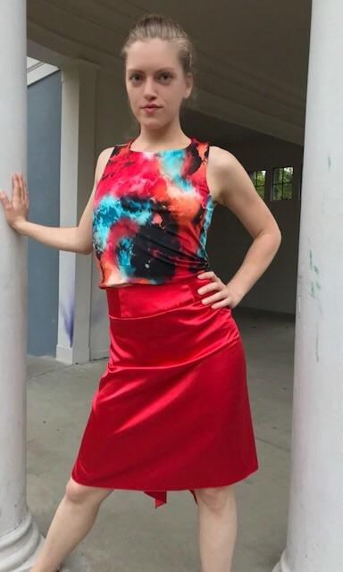 Red turquoise multicolor abstract print criss cross back top - Bailemos Dancewear