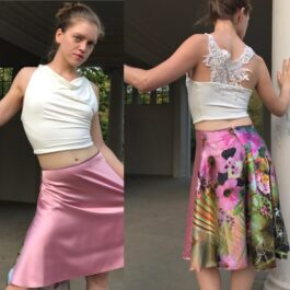 Rose satin charmeuse skirt with floral back - Bailemos Dancewear