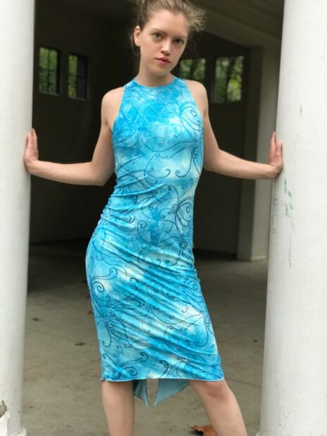 Sky blue crossed back dress - Bailemos Dancewear