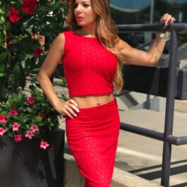Red circular lace pencil skirt and crop top - Bailemos Dancewear
