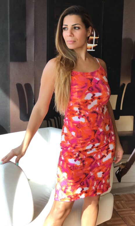 Orange fuchsia abstract print tank dress - Bailemos Dancewear