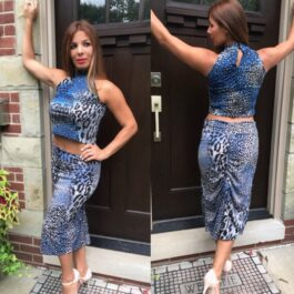 Tango skirt, animal print, blue/silver sequins - Bailemos Dancewear